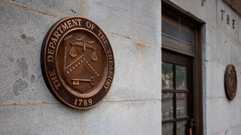El edificio del Departamento del Tesoro de EE.UU. se ve en Washington, DC, el 22 de julio de 2019. (ALASTAIR PIKE/AFP a través de Getty Images)