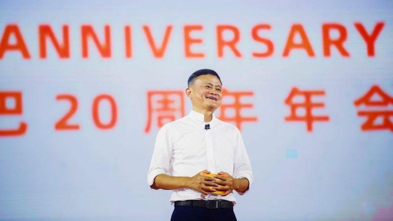 Jack Ma, presidente del grupo Alibaba, habla durante un evento para conmemorar el 20 aniversario de Alibaba en Hangzhou en la provincia oriental de Zhejiang de China, 10 de septiembre de 2019. (Foto de STR/AFP a través de Getty Images)
