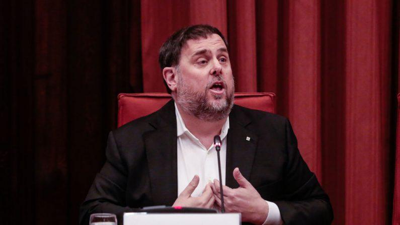 El exvicepresidente de Cataluña, Oriol Junqueras, habla durante una comisión parlamentaria regional en Barcelona el 28 de enero de 2020 en Barcelona, España. (Miquel Benitez/Getty Images)