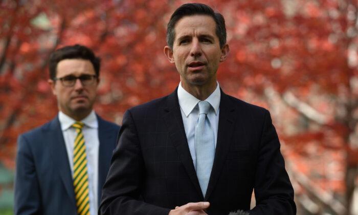 El ministro de Agricultura David Littleproud (i) y el senador Simon Birmingham durante una conferencia de prensa en la Casa del Parlamento el 12 de mayo de 2020 en Canberra, Australia. (Sam Mooy/Getty Images)