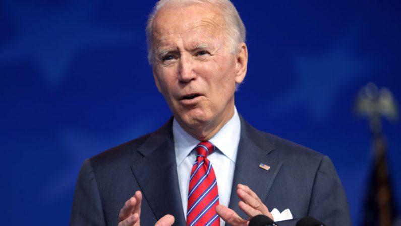 El candidato Joe Biden habla en el teatro Queen el 4 de diciembre de 2020 Wilmington, Delaware. (Alex Wong/Getty Images)