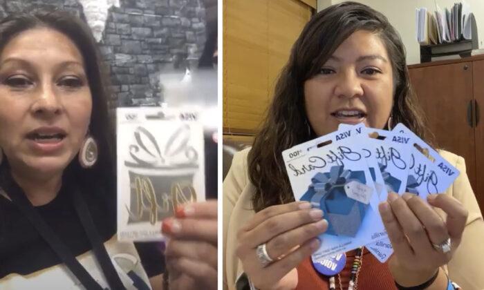 """(Izquierda) LaCarrie McCloud anuncia los nombres de cinco ganadores de una rifa de USD 50 """"que el Proyecto de Voto Nativo de Nevada hizo hoy para todos los votantes que entraron y votaron hoy"""". (Derecha) Bethany Sam, trabajadora de relaciones públicas de Reno-Sparks Indian Colony, sosteniendo cuatro tarjetas de regalo Visa de USD 100, como parte de un """"sorteo virtual"""" para las personas que demuestren que votaron. (Captura de pantalla/The Epoch Times)"""