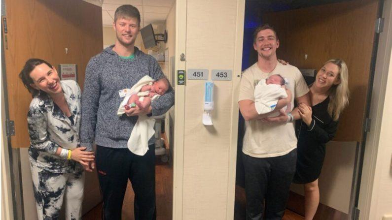 Ashley y John Carruth (izquierda) y Joe y Brittany Schille (derecha) sostienen a sus hijos recién nacidos en el M Health Fairview Ridges Hospital en Burnsville, Minnesota, el 14 de diciembre de 2020. (Cortesía de Ashley Carruth)