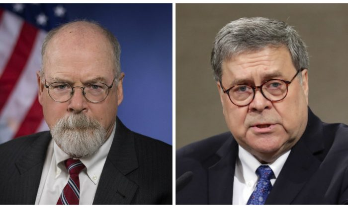 El fiscal federal John Durham y el fiscal general William Barr. (Departamento de Justicia, R-Chip Somodevilla/Getty Images)