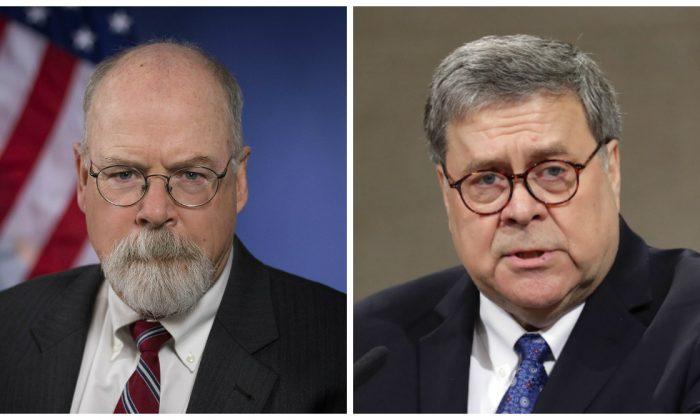 El fiscal federal, John Durham, y el fiscal general, William Barr. (Izq-Departamento de Justicia, Der-Chip Somodevilla/Getty Images)