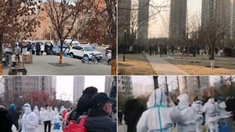 La comunidad de viviendas de Huarun Oak Bay en la ciudad de Shenyang, China, está cerrada debido a una oleada local de casos de COVID-19, el 23 de diciembre de 2020. (Proporcionado a The Epoch Times por el entrevistado)