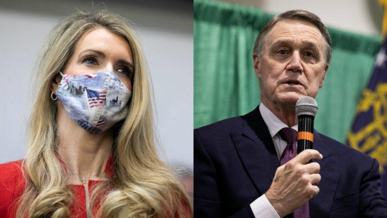 Los senadores Kelly Loeffer (R-Ga.) (I) y David Perdue (R-Ga.) en fotografías de archivo. (Getty Images)