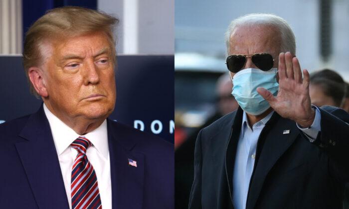 El presidente Donald Trump (iz) y el candidato presidencial demócrata Joe Biden en fotografías de archivo. (Getty Images)