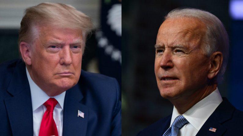 El presidente Donald Trump (I) y el candidato presidencial demócrata Joe Biden(D) en fotografías de archivo. (Getty Images)