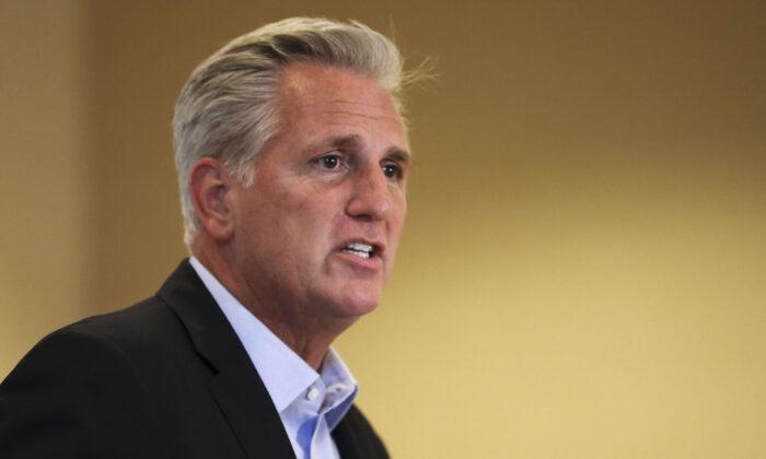 El líder republicano de la Cámara, Kevin McCarthy (R-Calif.), habla en el Retiro de miembros republicanos de la Cámara en Baltimore, Maryland, el 12 de septiembre de 2019. (Samira Bouaou/The Epoch Times)