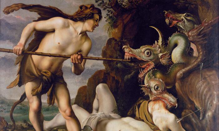 """""""Cadmus mata al dragón"""", entre 1573 y 1617, de Hendrick Goltzius. Óleo sobre lienzo, 74,4 pulgadas por 97,6 pulgadas. Galería Nacional de Dinamarca. (Dominio publico)"""