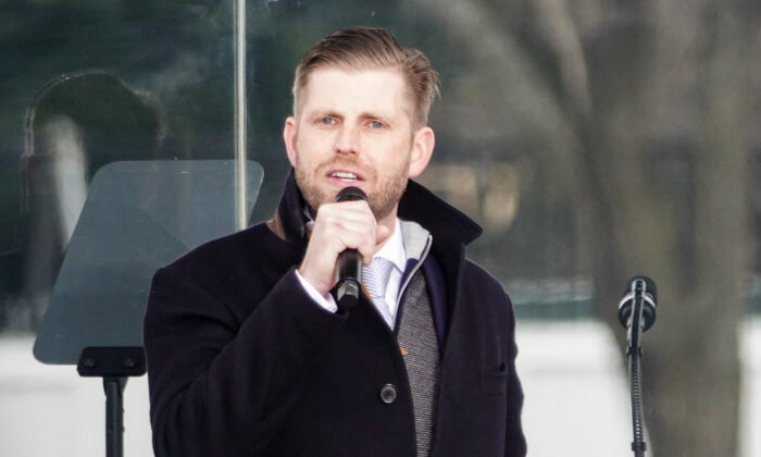 Eric Trump en el mitin Stop the Steal en Washington el 6 de enero de 2021. (Jenny Jing/The Epoch Times)