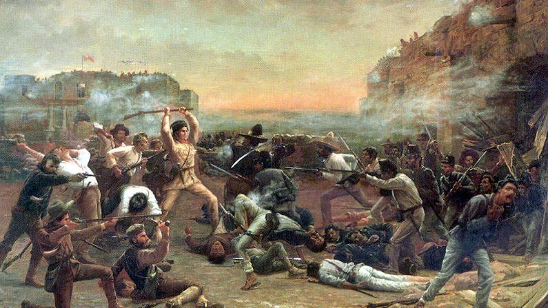 """Famoso cuadro del último stand realizado en El Álamo. """"La caída del Álamo"""", 1903, de Robert Jenkins Onderdonk, muestra a Davy Crockett empuñando su rifle como un garrote contra las tropas mexicanas que han traspasado los muros de la misión. (Dominio publico)"""