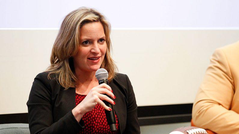Jocelyn Benson en el SiriusXM Business Radio, desde Wharton San Francisco, el 5 de febrero de 2016, en San Francisco, California. (Kimberly White/Getty Images para SiriusXM)