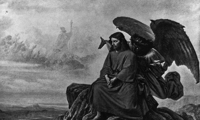 El diablo tienta a Jesús mientras está solo en el desierto, en esta ilustración. (Foto del Archivo Hulton/Getty Images)