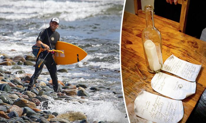 Kiter-surfista canadiense encuentra una botella con un mensaje y un anillo de diamantes en su interior
