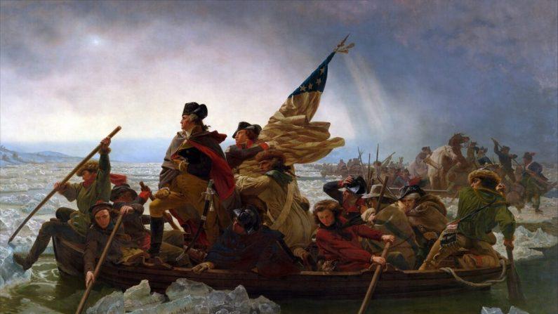 Washington cruzando el Delaware, un cuadro de Emanuel Leutze, colgado en el Museo Metropolitano de Arte de la ciudad de Nueva York. (Dominio público, a través de Wikimedia Commons)