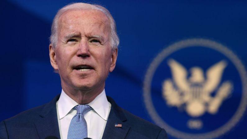 El presidente electo, Joe Biden, pronuncia un discurso en Wilmington, Delaware, el 6 de enero de 2021. (Chip Somodevilla/Getty Images)