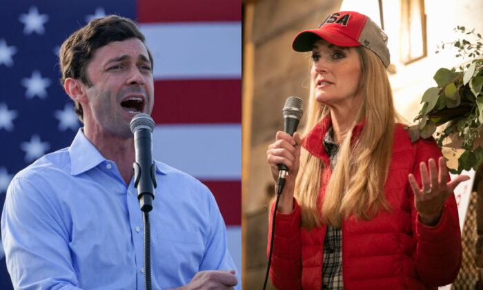 El candidato demócrata al Senado de EE. UU., Jon Ossoff (Izq.) y la senadora Kelly Loeffler (R-Ga.), captados haciendo campaña en fotografías de archivo. (Getty Images)