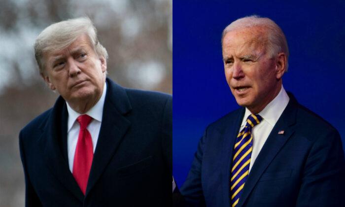 El expresidente Donald Trump (i) y el presidente Joe Biden. (Archivo/Getty Images)