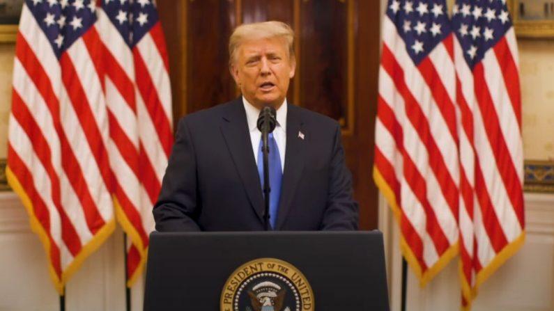 El presidente Donald Trump pronunció su discurso de despedida el 19 de enero. (Casa Blanca/YouTube)