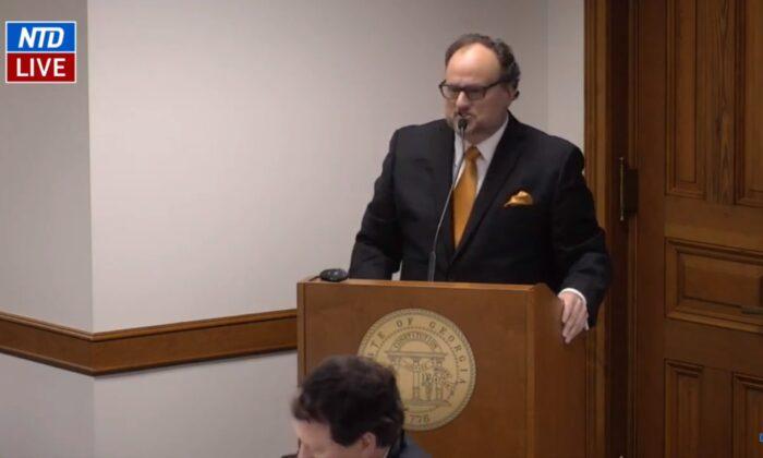 Jovan Pulitzer testifica ante el Subcomité de Estudio de la Ley Electoral del Senado de Georgia el 30 de diciembre de 2020. (NTD)