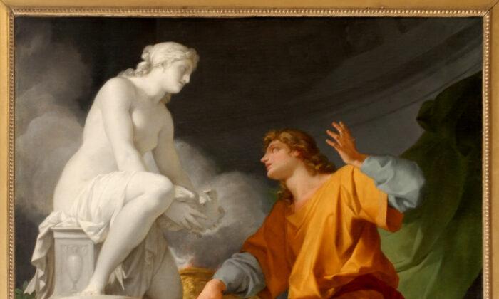"""¿Las palabras lanzan un hechizo que crea? Pigmalión, a través de las palabras de oración a una diosa, da vida a su amada estatua"""". Pigmalión rezando a Venus para animar su estatua"""", 1786. (Jean Baptiste Regnault/Palacio de Versalles. (Dominio publico)"""