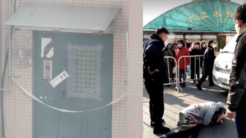 (I) La entrada de un edificio de apartamentos está sellada en el distrito Jinzhou de Dalian, China, en enero de 2021. (Proporcionado por un entrevistado) (D) Una mujer intenta salir de un área cerrada pero es detenida por la policía en Shenyang, China, en enero de 2021. (Captura de pantalla de un video de Twitter)