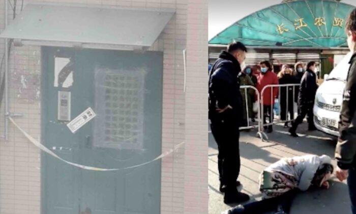 (Izq.) Una foto tomada en enero de 2021 muestra la entrada sellada de un edificio de apartamentos en el distrito de Jinzhou, en Dalian, China. (Proporcionado por un entrevistado) (Der.) Una mujer intenta salir de un área cerrada, pero es detenida por la policía en Shenyang, China en enero de 2021. (captura de pantalla de un video de Twitter)