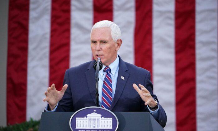 El vicepresidente, Mike Pence, en el Jardín de Rosas de la Casa Blanca, el 13 de noviembre de 2020. (Mandel Ngan/AFP a través de Getty Images)