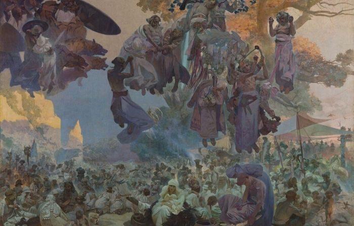 """""""La épica eslava: No. 2: La celebración de Svantovit: cuando los dioses están en guerra, la salvación está en el arte"""", 1912, por Alphonse Maria Mucha. Témpera de huevo y óleo sobre lienzo, 20 pies por 26.5 pies. Galería Nacional de Praga. (PD-US)"""