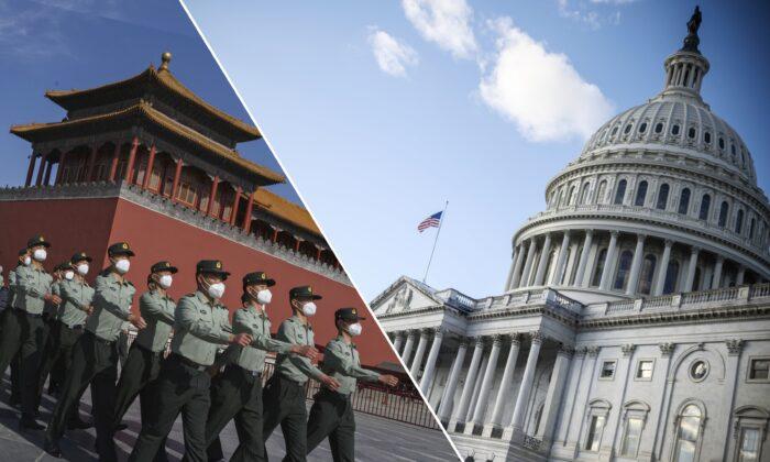 Soldados del Batallón de la Guardia de Honor del Ejército Popular de Liberación marchan frente a la Ciudad Prohibida, cerca de la Plaza de Tiananmen, en Beijing, China, el 20 de mayo de 2020. (Der.) El edificio del Capitolio de Estados Unidos en un día de invierno, en Washington, el 29 de diciembre de 2020. (Kevin Frayer/Getty Images, Eric Baradat/AFP a través de Getty Images)