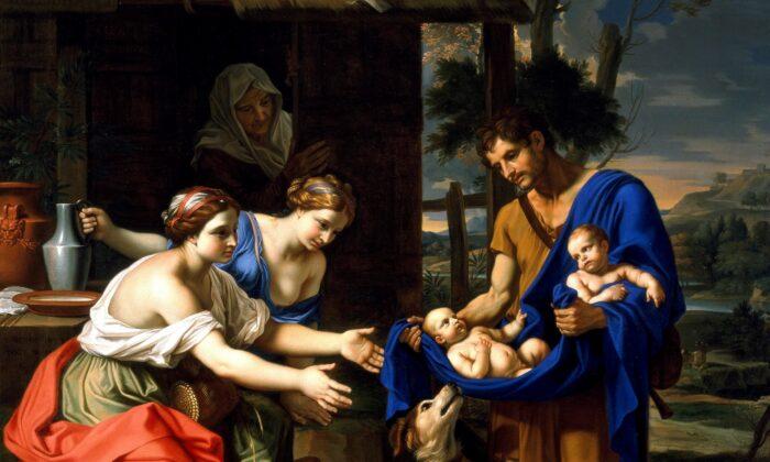 """¿Por qué nos fascinan los gemelos? Este en detalle de la obra """"El pastor Faustulus llevándole a su esposa a Rómulo y Remo"""", 1654, de Nicolas Mignard. Museo de Arte de Dallas. (Dominio público)"""