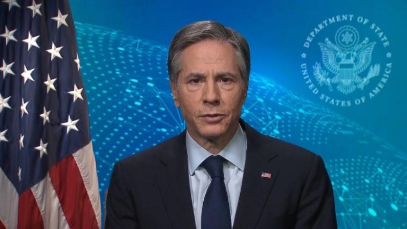 El secretario de Estado Anthony Blinken en una transmisión para el 46º período de sesiones del Consejo de Derechos Humanos. (Captura de pantalla/U.S. Department of State)