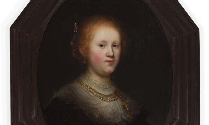 """El """"Retrato de una joven"""" recientemente restaurado, 1632, de Rembrandt van Rijn. Óleo sobre tabla; 29 1/2 pulgadas por 22 3/4 pulgadas. Colección Samuel H. Kress, 1961. Museo de Arte de Allentown. (Museo de Arte de Allentown)"""