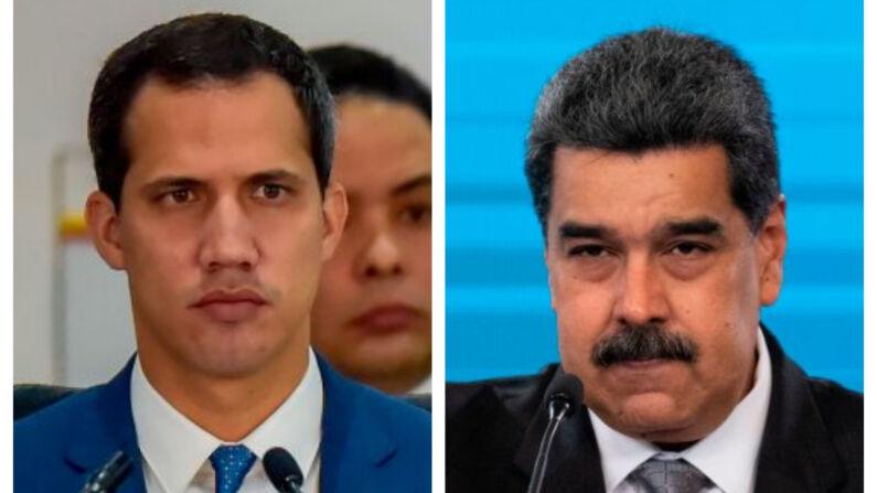 (I) El presidente interino Juan Guaidó asiste a la III Conferencia Ministerial Hemisférica de Lucha contra el Terrorismo en Bogotá, el 20 de enero de 2020. (D) El líder del régimen chavista Nicolás Maduro en el palacio presidencial de Miraflores, en Caracas, el 17 de febrero de 2021.(RAUL ARBOLEDA/AFP y YURI CORTEZ/AFP vía Getty Images)