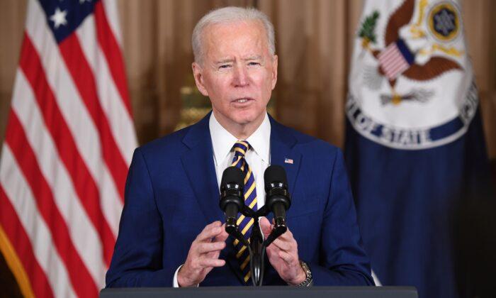 El presidente Joe Biden habla sobre política exterior en el Departamento de Estado, en Washington, el 4 de febrero de 2021. (Saul Loeb/AFP a través de Getty Images)