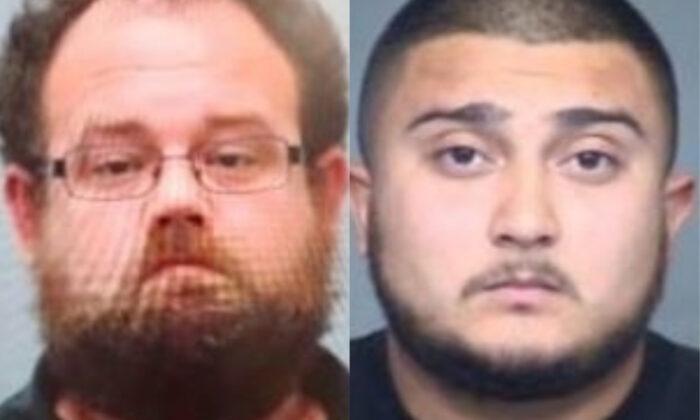 Eric Giles (izq.) y Matthew Schaffer, dos de los detenidos en una operación de tráfico y delitos sexuales contra menores. (Departamento de Policía de Phoenix)
