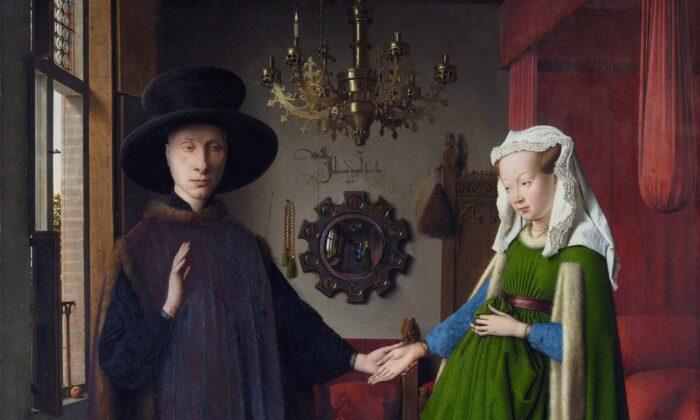 """Un detalle de """"El retrato Arnolfini"""", 1434, de Jan van Eyck. Óleo sobre panel de roble de 3 tablas verticales; 32.4 pulgadas por 23.6 pulgadas. National Gallery, Londres. (Dominio público)"""