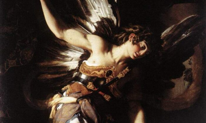 """Un detalle de """"Amor sagrado y amor profano"""", 1602, de Giovanni Baglione. Óleo sobre lienzo; 94,5 por 56,3 pulgadas. Galería Nacional de Arte Antiguo, Roma. (Dominio público)"""