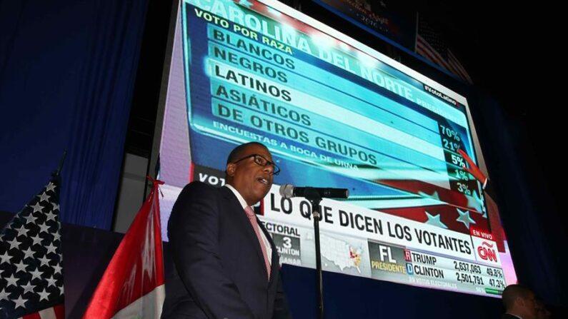 Fotografía de archivo fechada el 8 de noviembre de 2016 que muestra al entonces embajador de Estados Unidos en Perú, Brian A. Nichols, mientras pronuncia un discurso durante la noche de elecciones estadounidenses, en la sede de la Embajada en Lima (Perú). EFE/Ernesto Arias