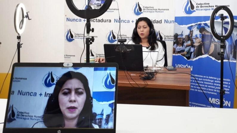 Wendy Flores abogada y defensora del Colectivo de Derechos Humanos nicaragüense denuncia ante la Unión Europea que se ha profundizado la violencia y represión en Nicaragua. (Foto de cortesía a través de VOA)