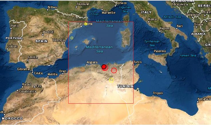 Un seísmo de magnitud 6 en la escala abierta de Richter sacudió la costa de Argelia, según informó el Servicio Geológico de EE.UU. (USGS, en inglés). Foto de EMSC