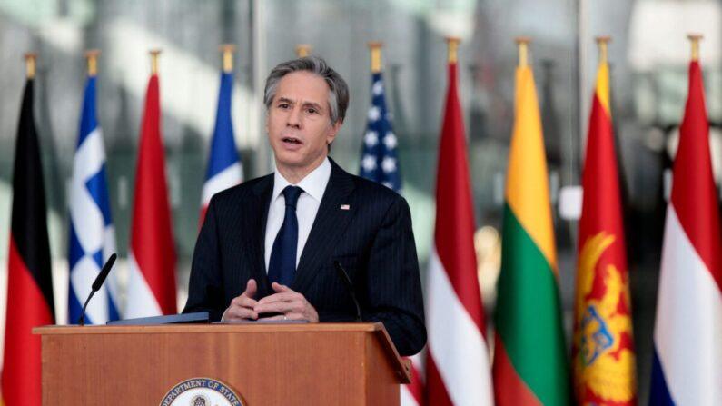 El secretario de Estado de EE. UU., Antony Blinken, después de una reunión de ministros de Relaciones Exteriores de la OTAN en la sede de la OTAN en Bruselas, Bélgica, el 24 de marzo de 2021. (Virginia Mayo/Pool AP/AFP a través de Getty Images)
