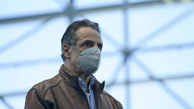 El gobernador de Nueva York, Andrew Cuomo, en Nueva York, el 8 de marzo de 2021. (Seth Wenig/Pool/AFP vía Getty Images)