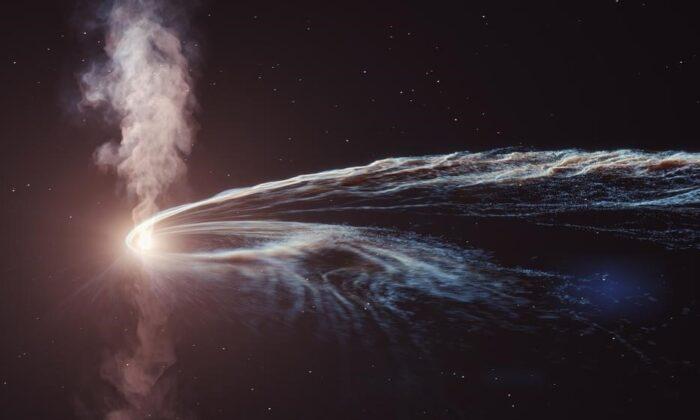Ilustración de un evento de disrupción de marea, en el que una estrella es destrozada y tragada por un agujero negro supermasivo, que lanza una tremenda cantidad de energía en un chorro de plasma. (DESY, Science Communication Lab)