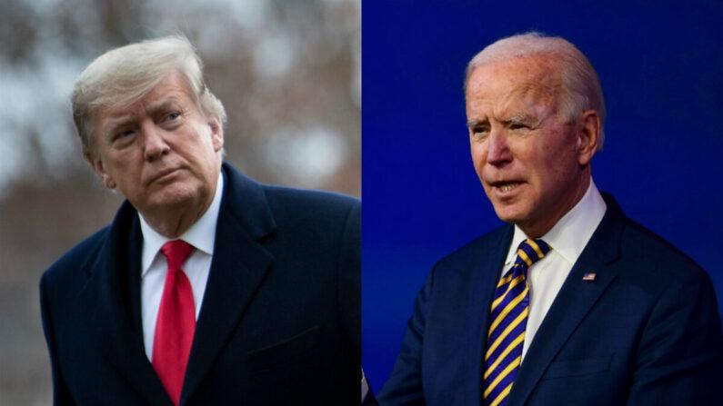 El expresidente Donald Trump (izq.) y el entonces candidato presidencial demócrata, Joe Biden, en fotos de archivo. (Getty Images)