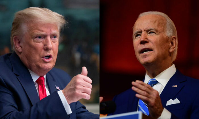 El entonces presidente Donald Trump, a la izquierda, y el entonces candidato presidencial demócrata Joe Biden en fotografías de archivo. (Getty Images)