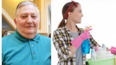 Mujer trabaja limpiando pisos en hogar de ancianos para ver a su padre durante la pandemia