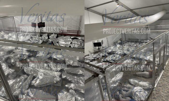 Instalación de sobrecupo de inmigrantes ilegales en Donna, Texas. (Project Veritas)